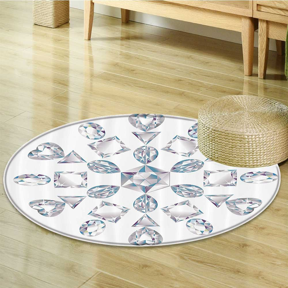 Diamond Decor Circle carpet by Nalahomeqq Heart and Triangle Cut Ornamental Chic Artsy Silver Diamonds Jewelry Home Wall Polyester Fabric Room non-slip Gray and White-Diameter 90cm(36'')