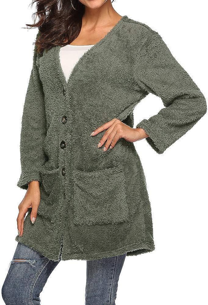 Womens Winter Warm Woolen Waterfall Open Front Jacket Cardigan Outwear Blouse ETHELDING Long Button Fluffy Coats