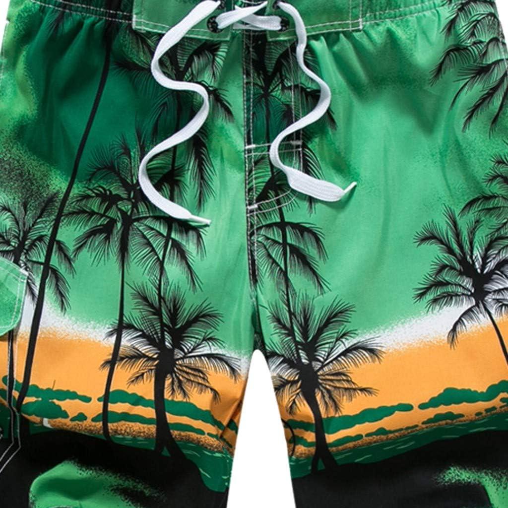 TOPUNDER Mens Pants Men Hawaiian Trunks Quick Dry Beach Surfing Running Swimming Short Pant