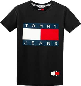 TH Tommy 100% Cotton Crew Neck Flag Logo Print T-Shirt