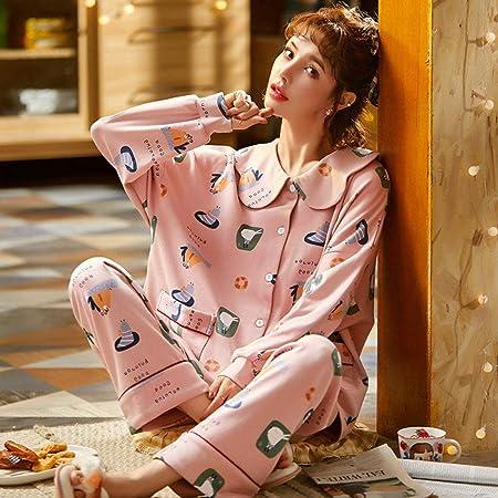 Cálidos Pijamas para Mujer,Camisa De Dormir De Solapa De ...