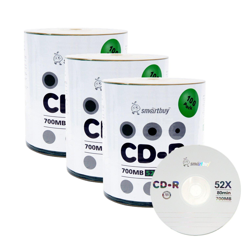 Smart Buy Logo CD-R 300 Pack 700mb 52x Blank Data Recordable Discs, 300 Disc, 300pk