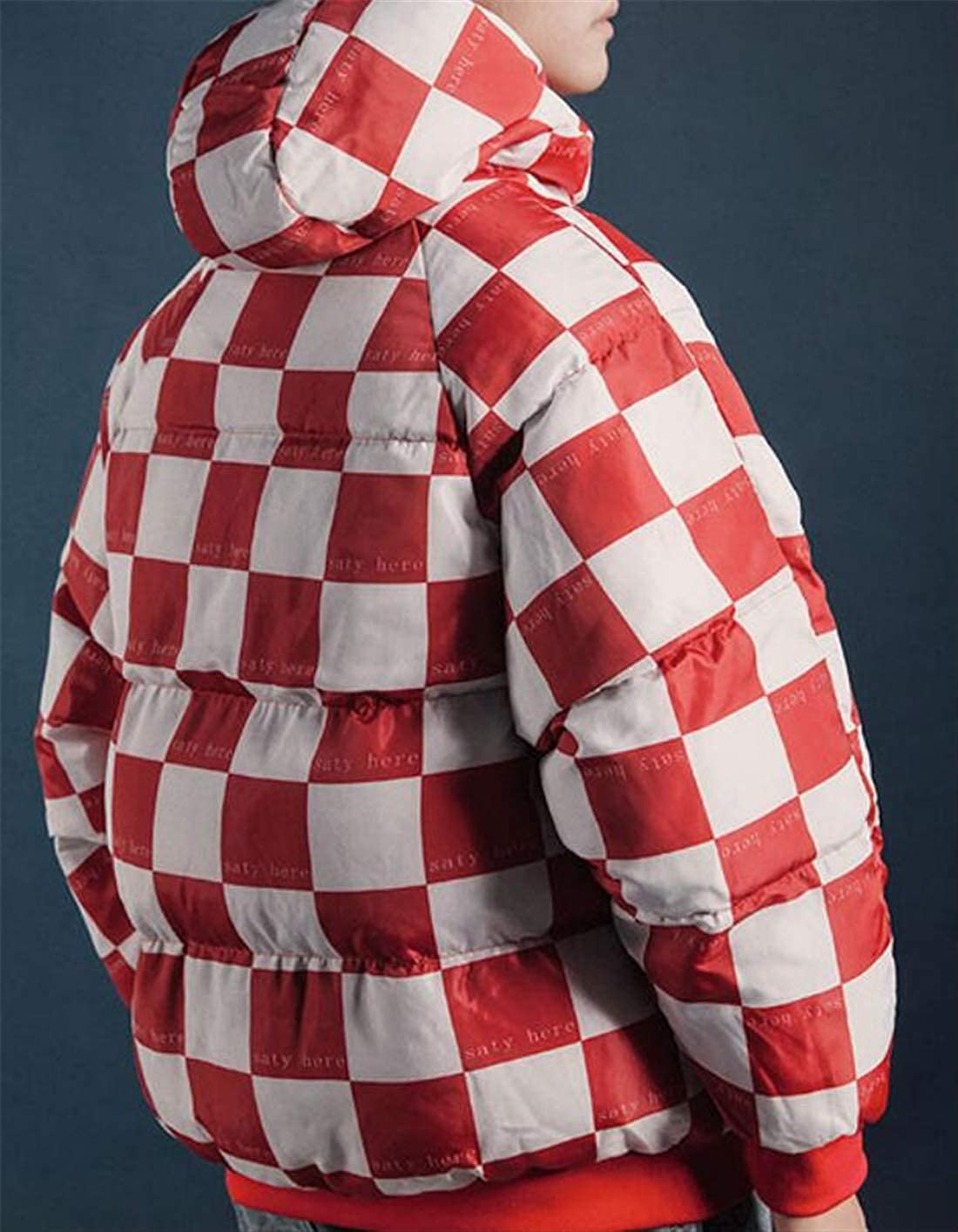 X-Future Mens Winter Thicken Fashion Outwear Checked Hooded Print Quilted Padded Down Jacket