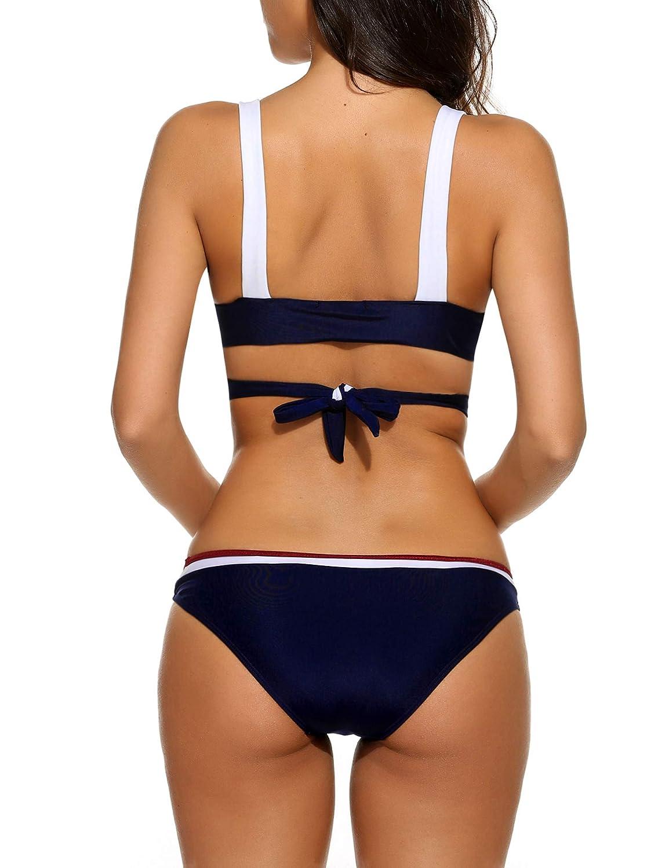 Avidlove Hot Womens Retro Swimsuit Lace Up Halter Padding Bikini