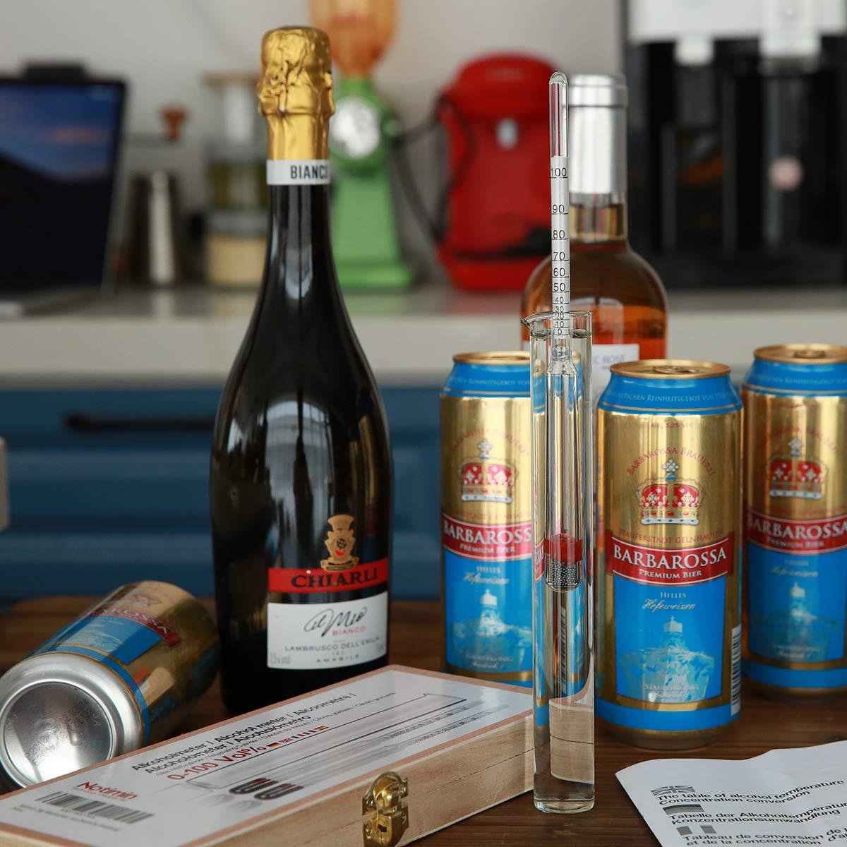 para licores//licores destilados etc cilindro de vidrio especial Manual en espa/ñol,Sin term/ómetro Notimin Medidor de alcohol 2pcs Hidr/ómetro de Alcohol Set de Dens/ímetros 0-100Vol/%