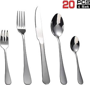 (Services for 4) - 20 pieces Stainless Steel Modern tableware flatware utensils cutlery set, Dinner knives/forks/soup spoon/salad fork/tea spoon.Elegant,Mirror Polished,Kitchen,Dishwasher Safe