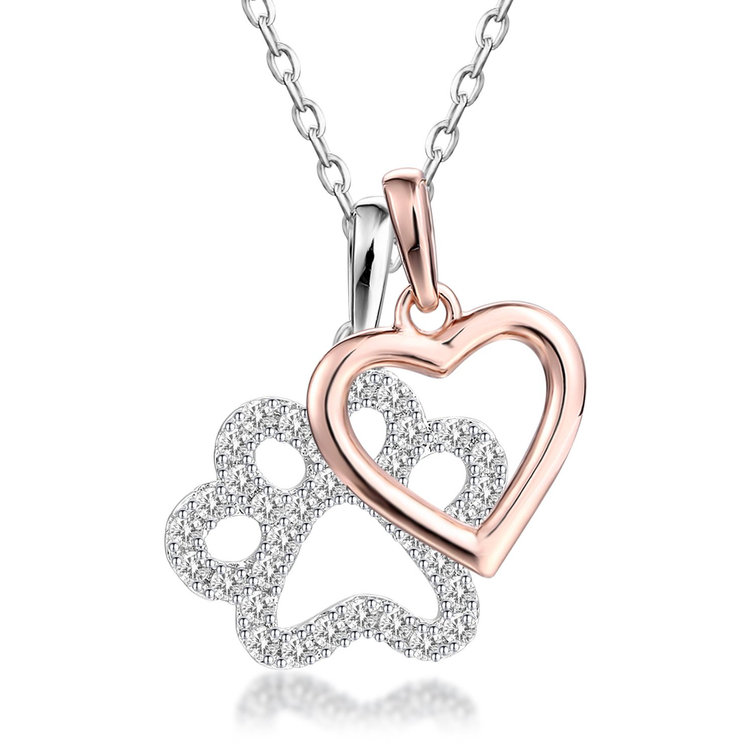 GuqiGuli Sterling Silver Good Luck Dog Paw with Rose Gold Heart Charms Pendant Necklace, 18''