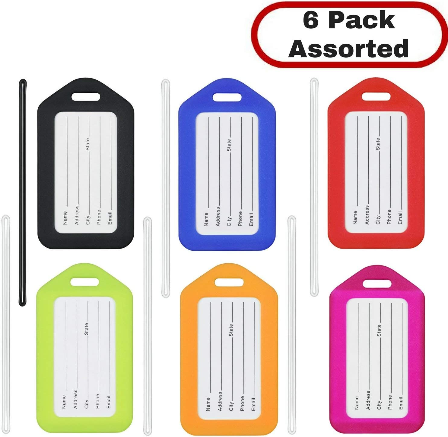 MIFFLIN Luggage Tags (Assorted, 6 PK), Bag Tag for Baggage, Suitcase Tags Bulk: Office Products