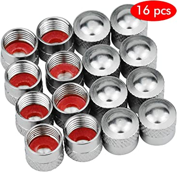 Hentek 16 Stück Metall Ventilkappen Autoventil Metall Kappen Ventilkappe Radventilkappen Für Pkw Auto Auto