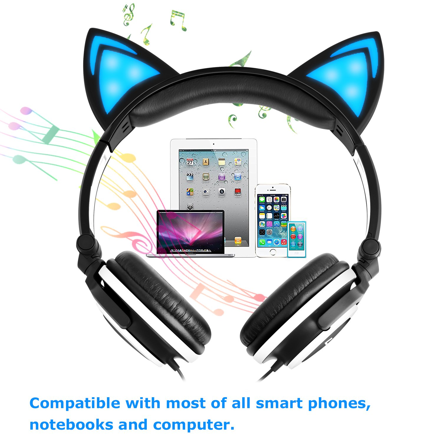 Cat Ear Headphone,LOBKIN Foldable Wired Over Ear Kids Headphone with Glowing Light for Girls Children Cosplay Fans,Compatible for iPhone,Android Phone (Black)