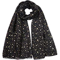 Lina & Lily Silver Gold Glitters Shimmer Foil Stars Women Scarf Shawl Wrap