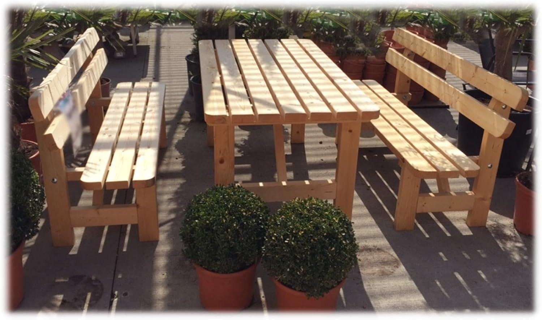 Amazon De Stabile Holz Sitzgruppe Garten Garnitur 1 Tisch 2 Banke