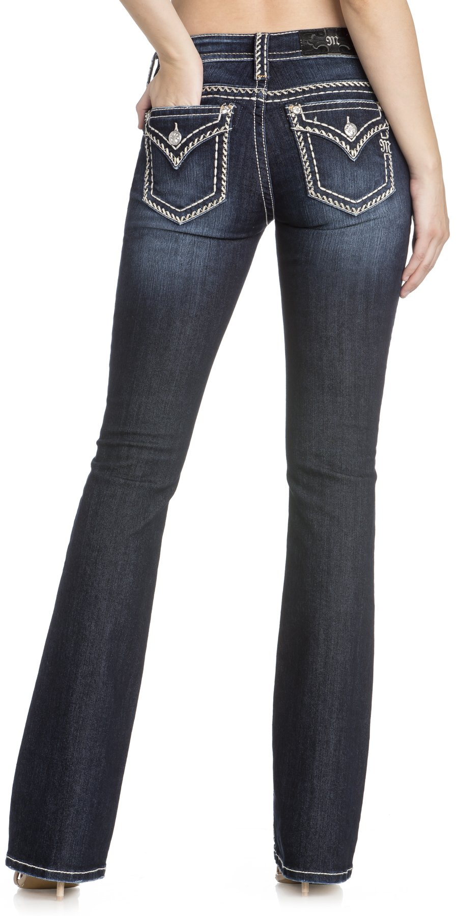 Miss Me Women's Chloe Thick Stitch Border Mid-Rise Boot Cut Jeans (Dark Blue, 25 34)