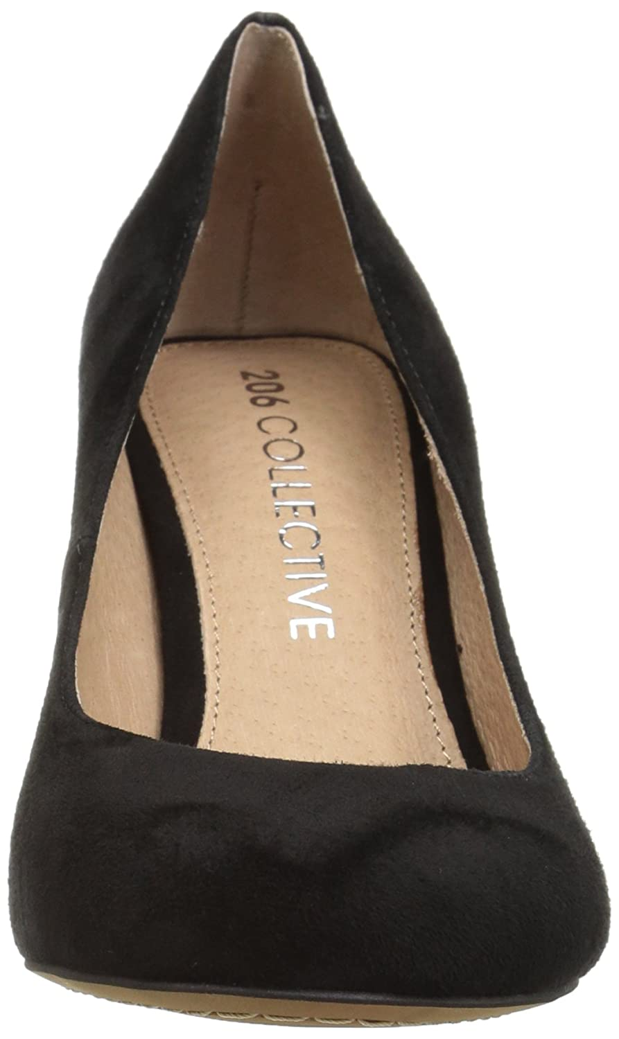 206 Collective Women's Coyle Round Toe Block Heel High Pump B07894243V 7.5 B(M) US|Black Suede