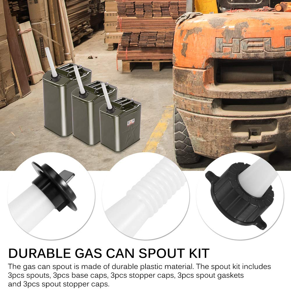 Houkiper Gas Can Spout Replacement Kit With Gasket Stopper Cap and Vent Cap Fitting On Most Of The Cans