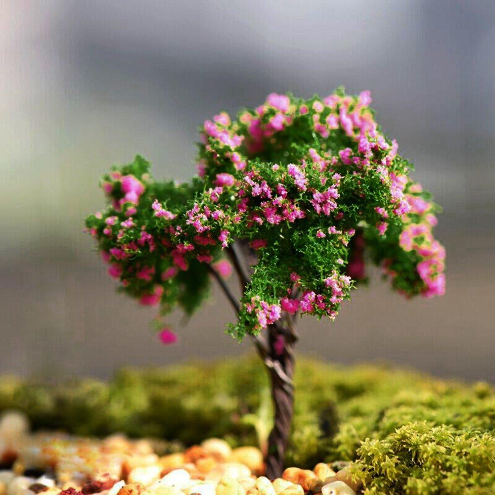 OHTOP Mini Tree Plants Miniature Fairy House Dollhouse Garden DIY Micro Bonsai Decor