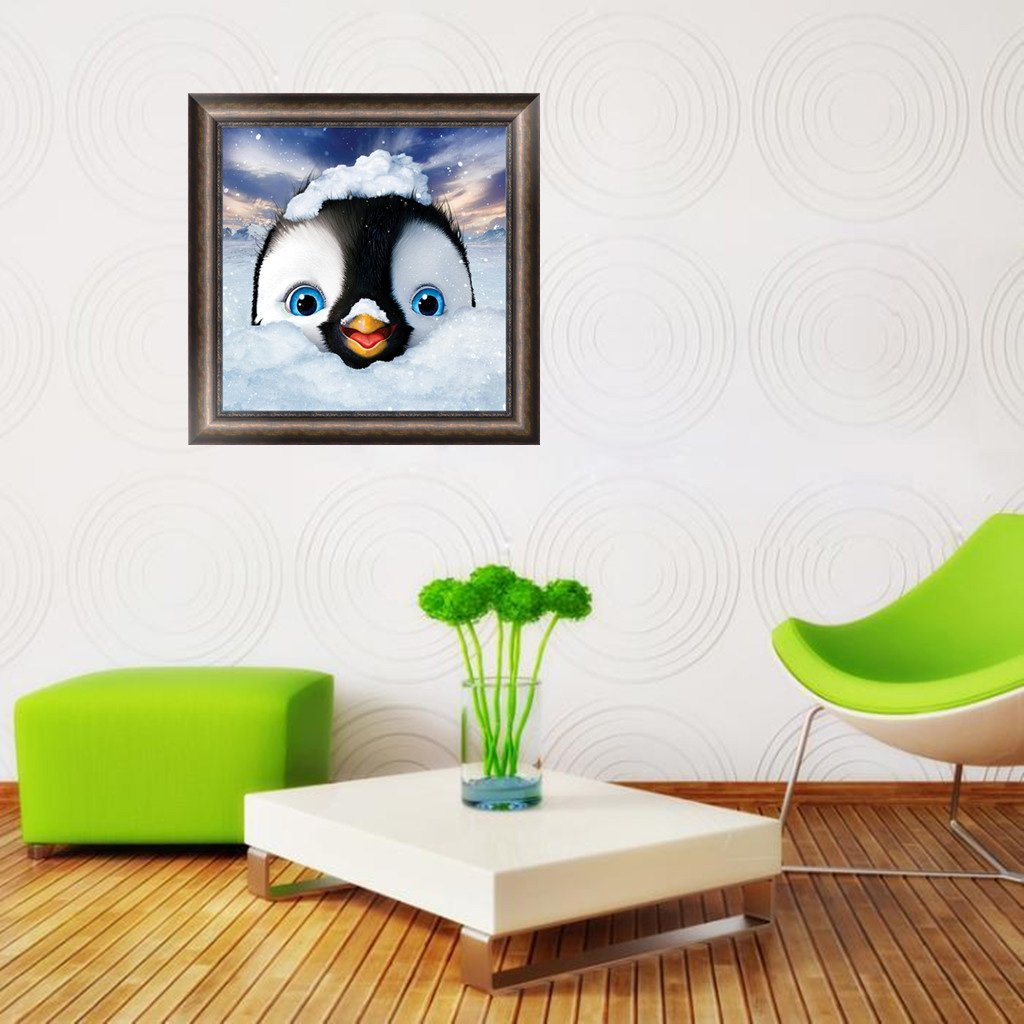 Bottone Cute Penguin DIY 5D Diamond Embroidery Painting Cross Stitch Craft Home Decor