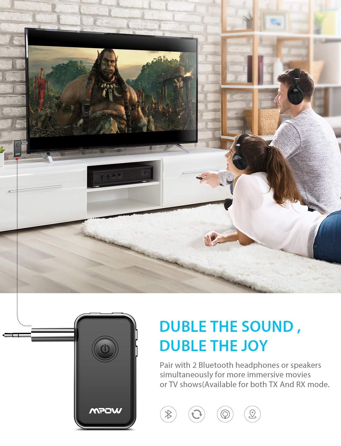 Amazon.com: Mpow Upgraded APTX Bluetooth Adapter for CD Like Music, aptX-LL Bluetooth Transmitter for TV to Pair with 2 Bluetooth Headphones, ...