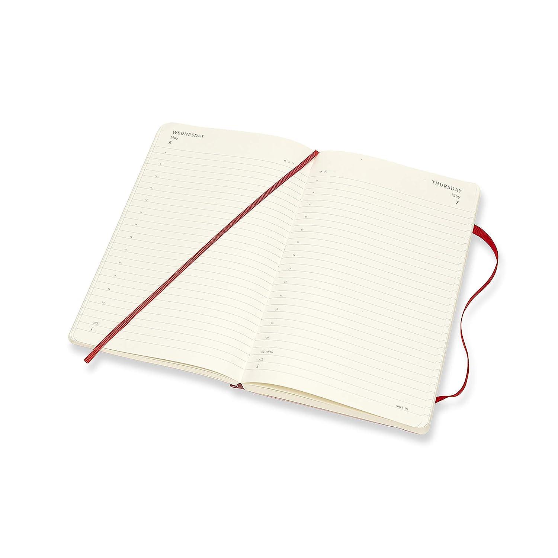 Moleskine - Agenda Diaria de 12 Meses 2020, Tapa Blanda y Goma Elástica, Tamaño Grande 13 x 21 cm, 400 Páginas, Rojo Escarlata
