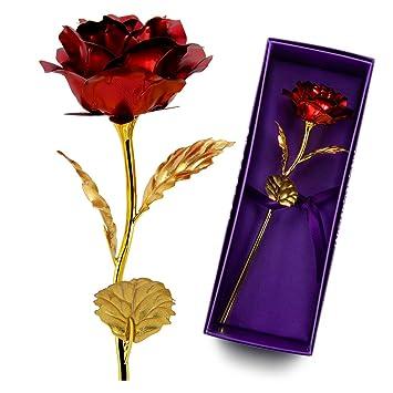 Autone 24 K Feuille D Or Forever Artificielles Rose Romantique