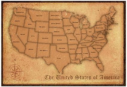 Amazon.com: Laminated United States Vintage Style Map Poster Print ...