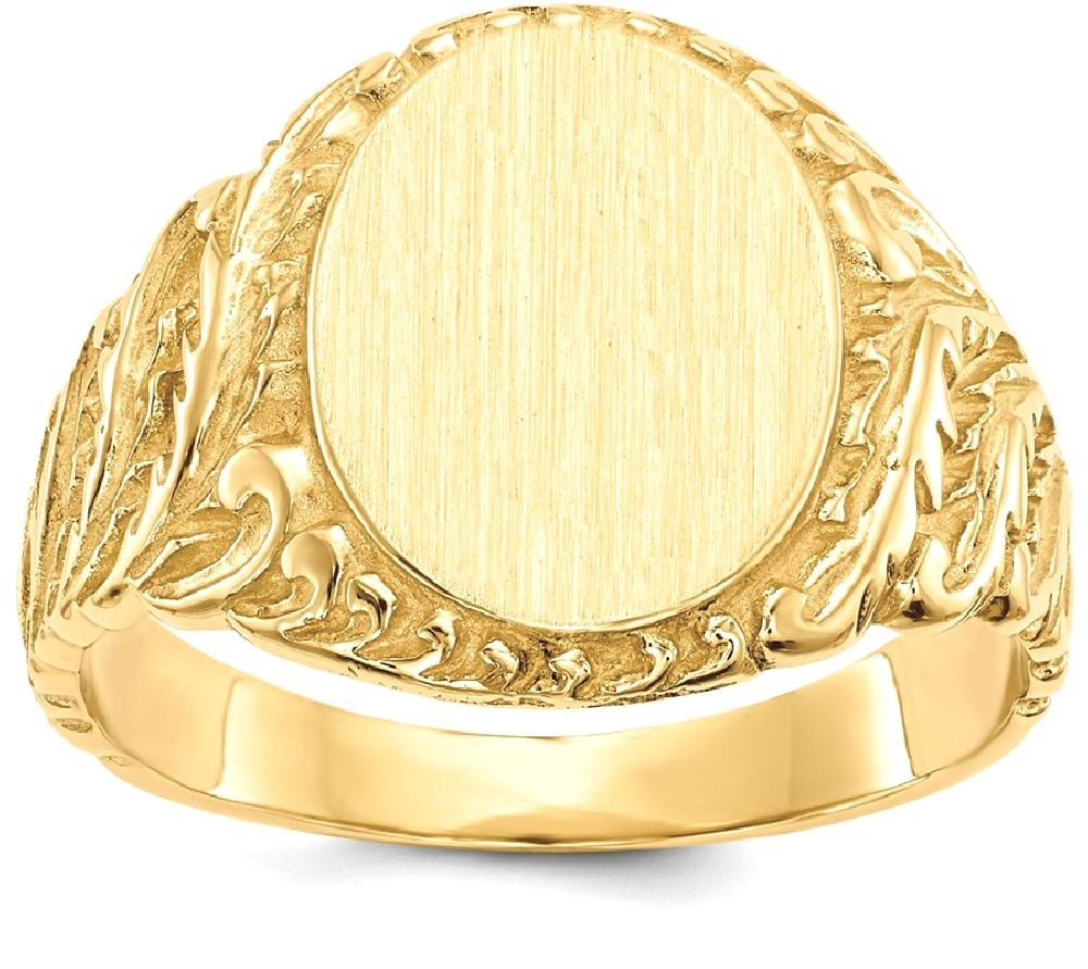 ICE CARATS 14k Yellow Gold Mens Signet Band Ring Size 9.00 Man Fine Jewelry Dad Mens Gift Set