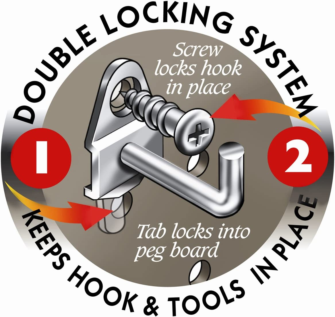Dia DuraHook 1-1//8 in 10 Pack Zinc Plated Steel Pegboard Hook for DuraBoard Single Rod 90 Degree Bend 3//16 in