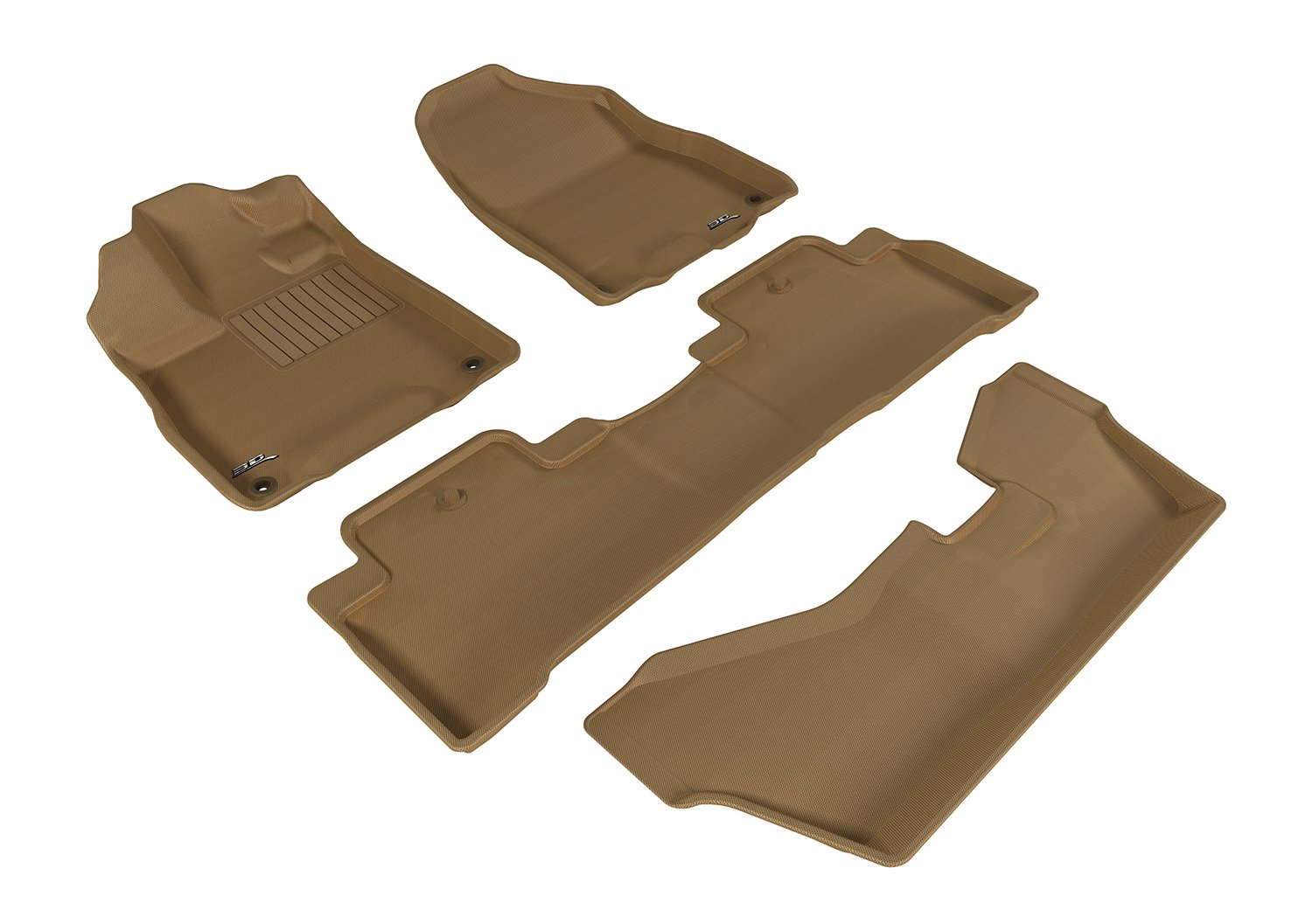 Kagu Rubber Tan 3D MAXpider Second Row Custom Fit All-Weather Floor Mat for Select Acura MDX Models