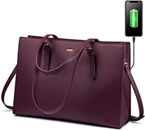 Laptop Bag for Women Professional Computer Bag Structured Leather Laptop Purse Large Laptop Tote Bag, 15.6-Inch, Deep Plum
