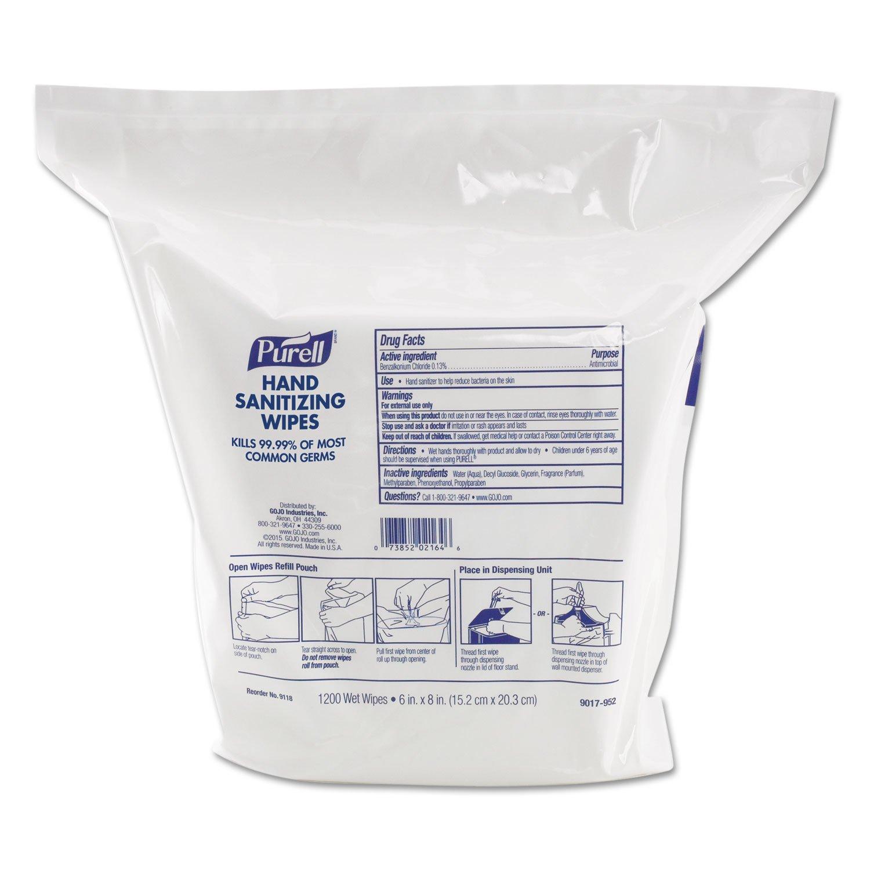 PURELL 911802 Purell Sanitizing Wipes, 1200/PK, White