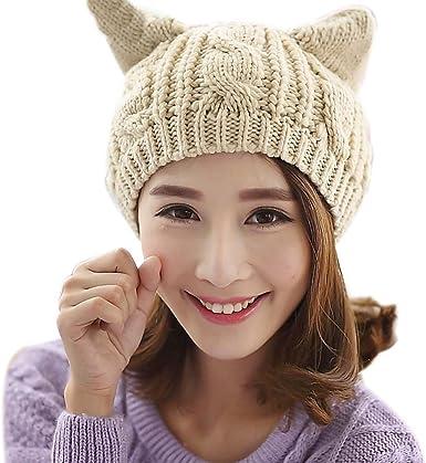 Bonnet Oreilles de Chat Femme Fille Mode Mignon Chapeau d Hiver en Tricot  Laine Crochet Casquette Animal Cosplay Bonnet e Neige Ski Skate Beret Chaud