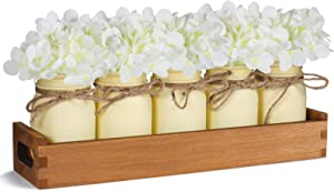 TJ.MOREE Centerpieces for Dining Room Table with Long Tray, Kitchen Table Centerpieces with 5 Mason Jars, Artificial Hydrangea Rustic Farmhouse Home Decor for Coffee Table Decor - White