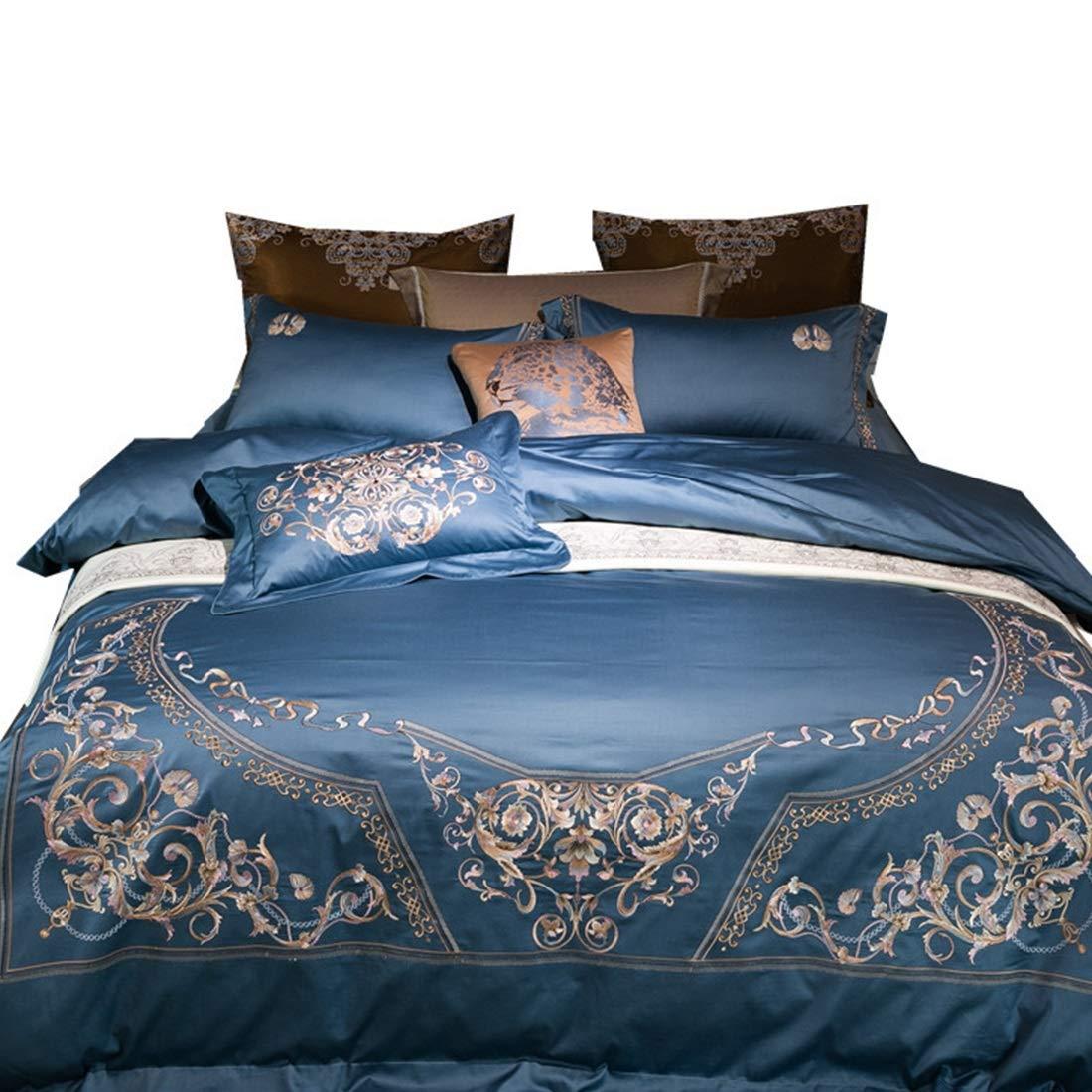 Koloeplf シンプルなブルーのハイエンド刺繍入り純綿ロングステープル綿の寝具4セット (Size : QUEEN) B07NXPCLQ4  Queen