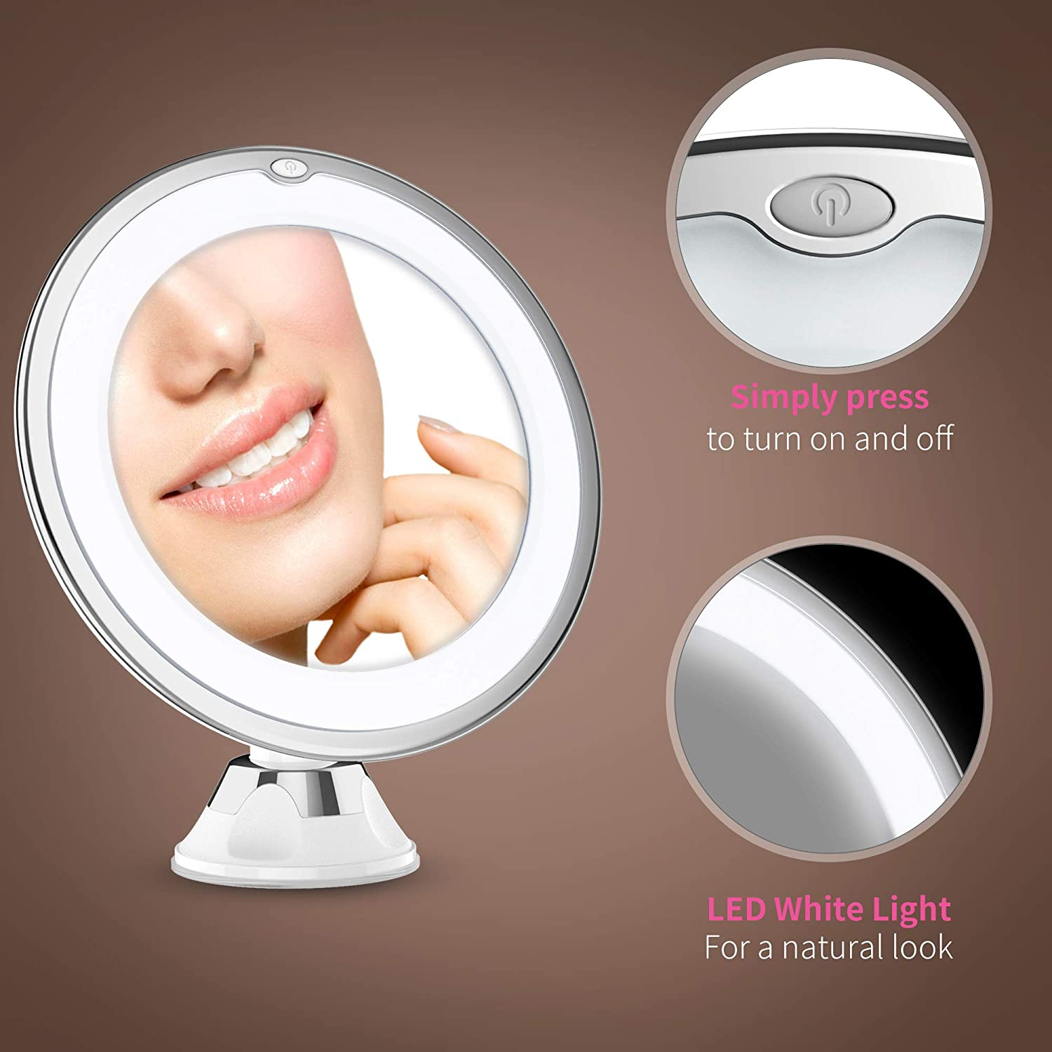 Updated 2020 Version 10X Magnifying Makeup Vanity Mirror with Lights, LED Lighted Portable Hand Cosmetic Magnification Light up Mirrors for Home Tabletop Bathroom Shower Travel