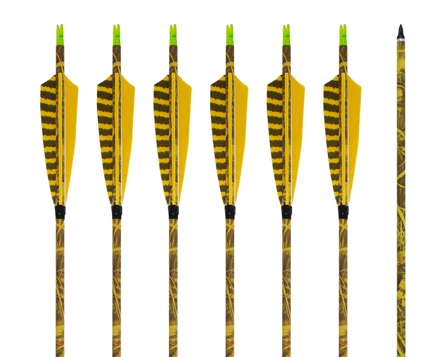 ARCHERY SHARLY [6 Pack] 31Inch Carbon Arrow Practice Hunting Arrows with 5'' Camo Natural Feathers for Traditional Recurve Bow and Longbow