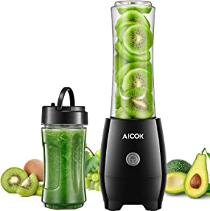 Aicok Personal Blender for Shakes and Smoothies Small Juicer with 2 BPA Free Portable Travel Cups and Spout Lids, 300W Smoothies Blenders for Milkshake, Fruit Vegetables Drinks and Baby Food