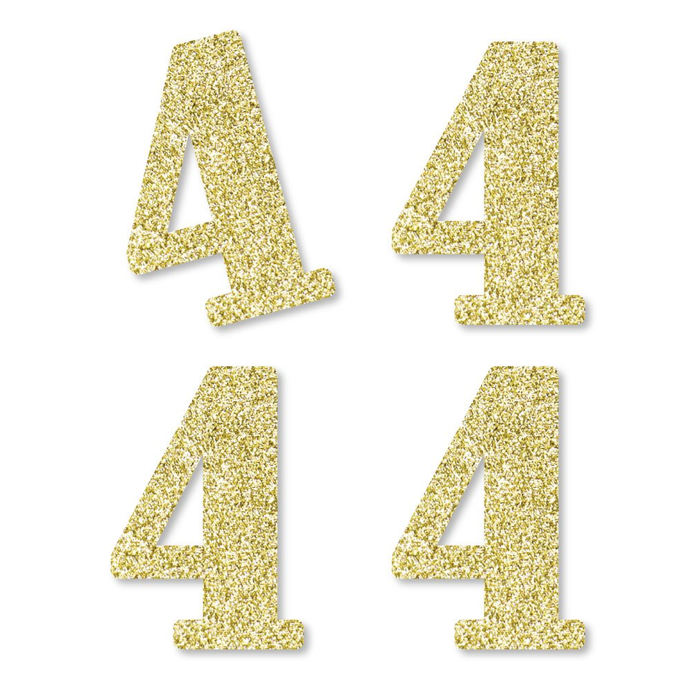 Gold Glitter 4 - No-Mess Real Gold Glitter Cut-Out Numbers - 4th Birthday Party Confetti - Set of 24