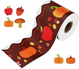 Holiday Bulletin Border Pumpkin Borders Autumn Leaves Border for Thanksgiving Decoration Halloween Party, 49 Feet Long