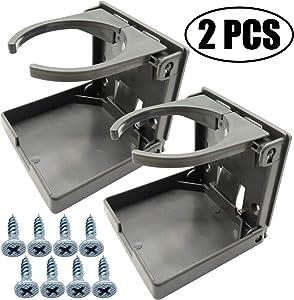 TIHOOD 2PCS Adjustable Folding Drink Holder with Screws/Adjustable Cup Holder for Marine/Boat/Caravan/Car (Grey)