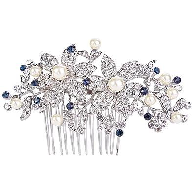 EVER FAITH® Silver-Tone CZ Austrian Crystal Art Deco Bow Bridal Hair Comb Clear N04184-1 IZAobM