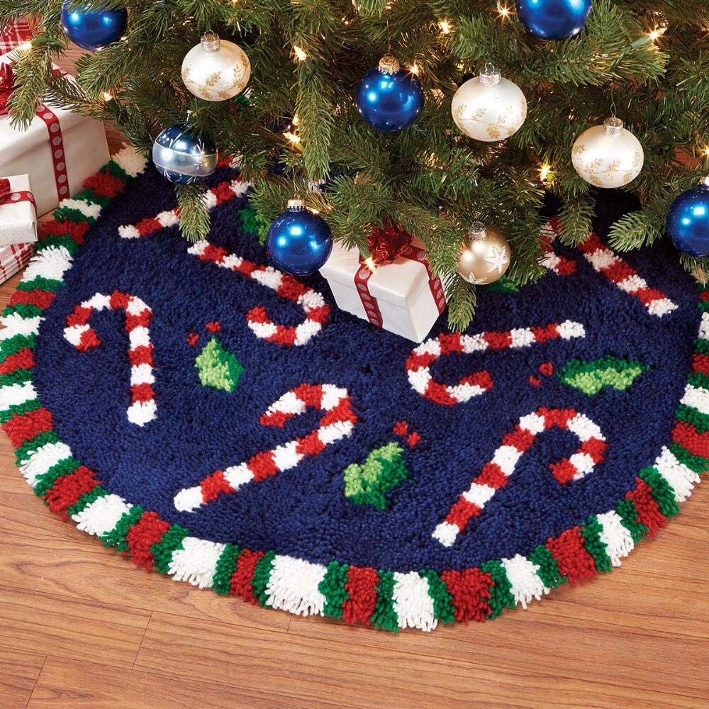 Herrschners® Candy Cane Tree Skirt Latch Hook Kit