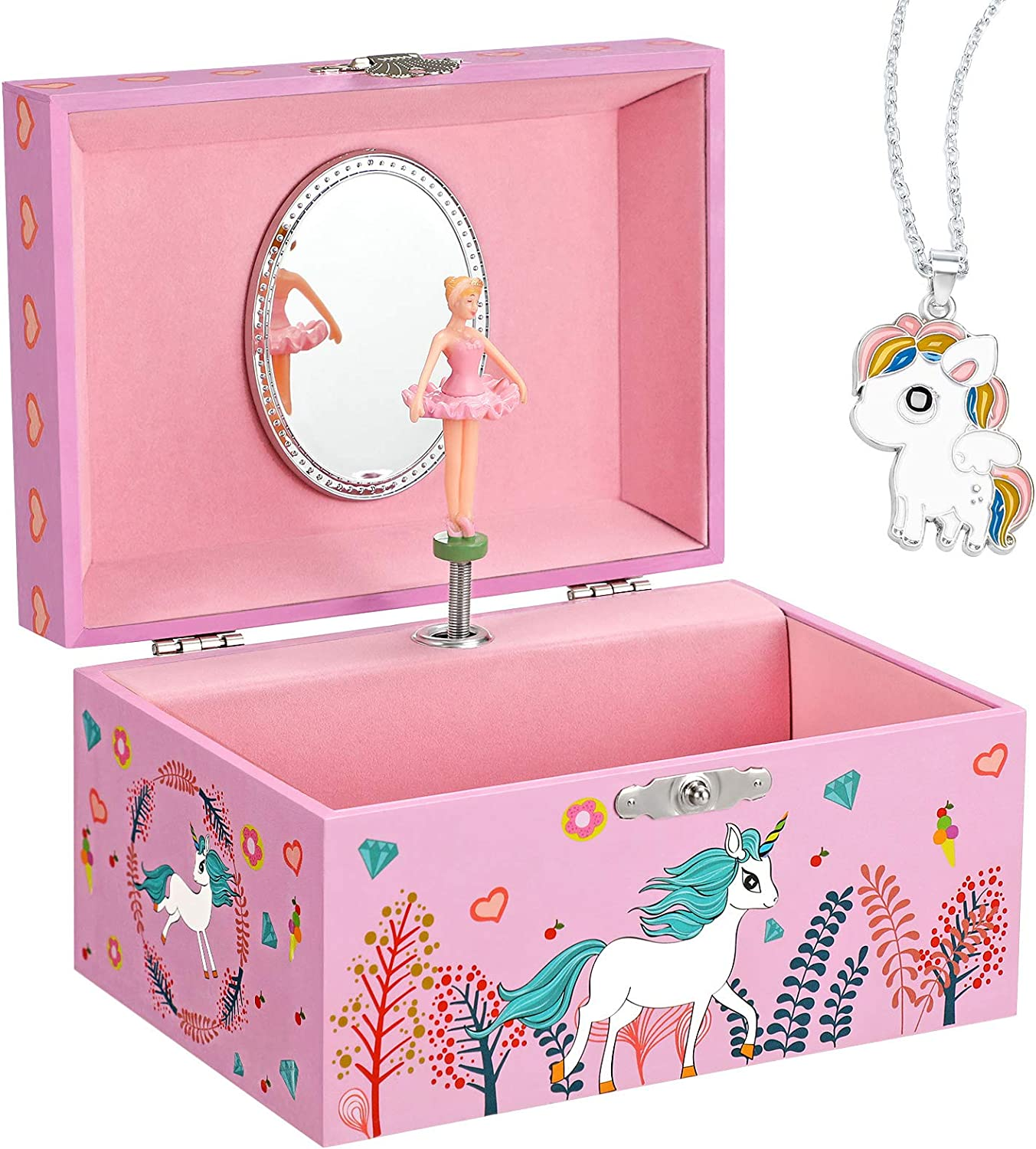 SONGMICS Musical Jewelry Box for Kids with a Ballerina Inside, Motif, The Unicorn Melody, 5.8″L x 4.2″W x 3.3″H, Pink