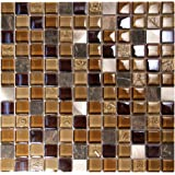 """Coeus Majestic - Beige and Brown 1x1"""" Squares Mosaic Glass Tile - Great For Kitchen Backsplash and Bathroom Design (4 x 6 Inch Sample)"""