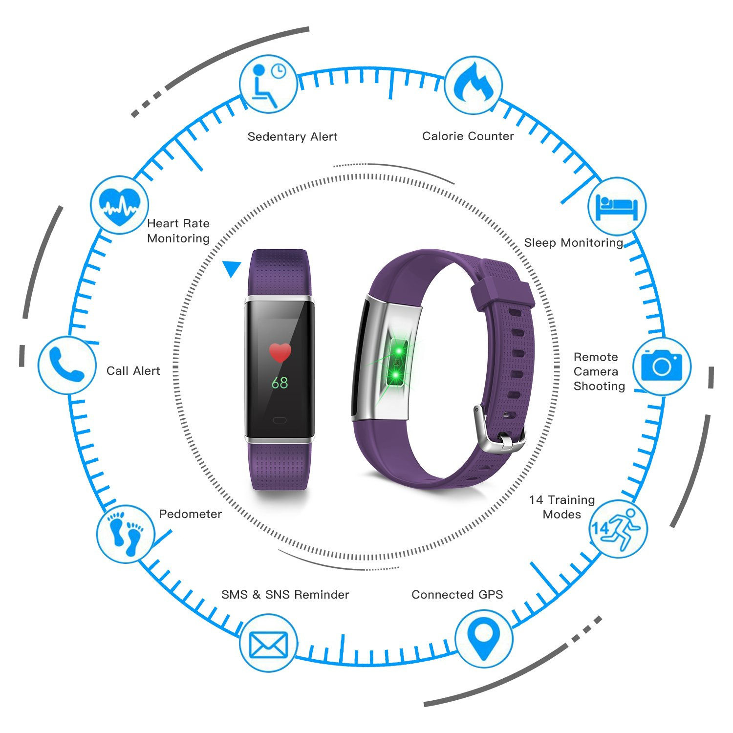 moreFit Fitness Tracker Glow Color Screen Heart Rate Monitor Waterproof Activity Tracker Smart Band Bracelet Pedometer Purple