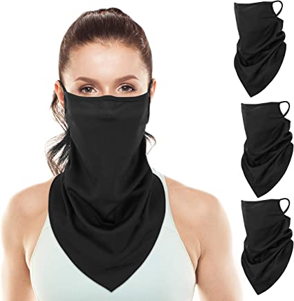 Face Mask Bandana Washable Covering Neckerchief Neck Gaiter Scarf with Loops Ear