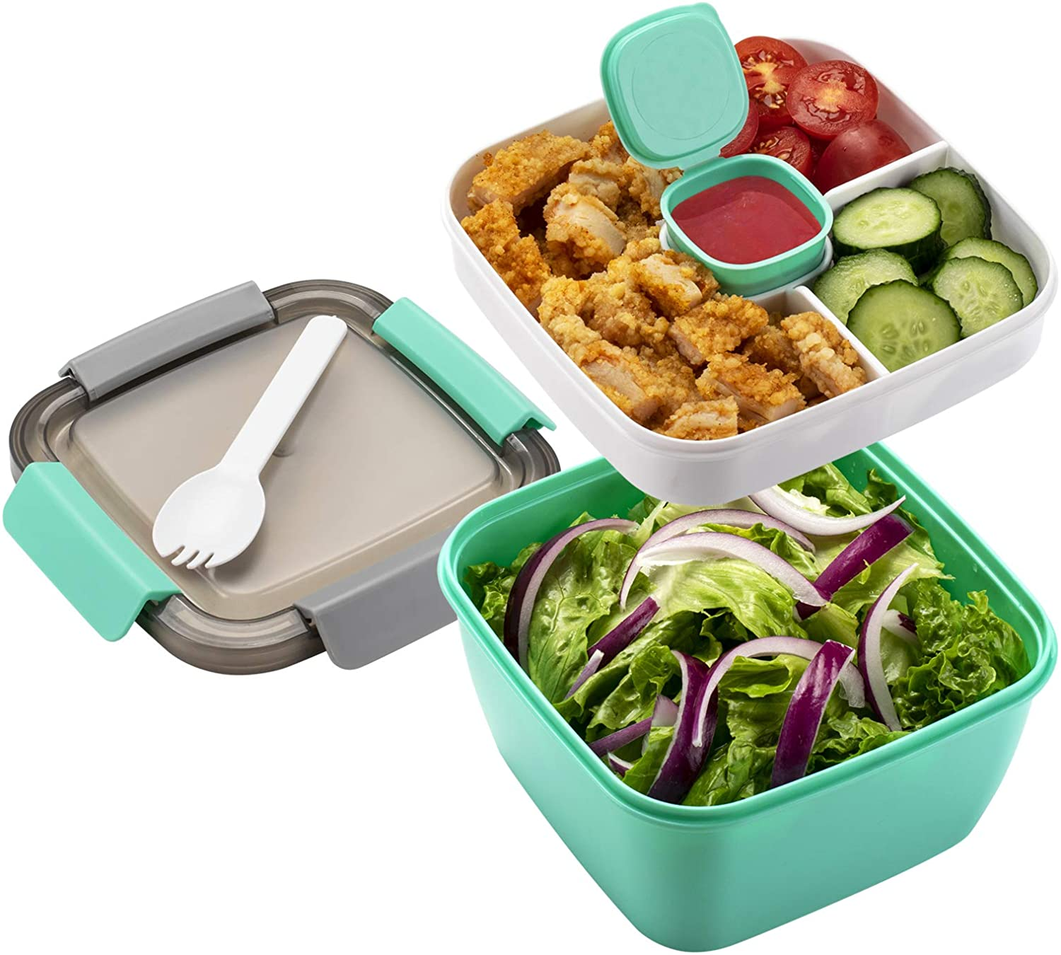 Freshmage Salad Lunch Container To Go, 52-oz Salad Bowls with 3 Compartments, Salad Dressings Container for Salad Toppings, Snacks, Men, Women (Green)
