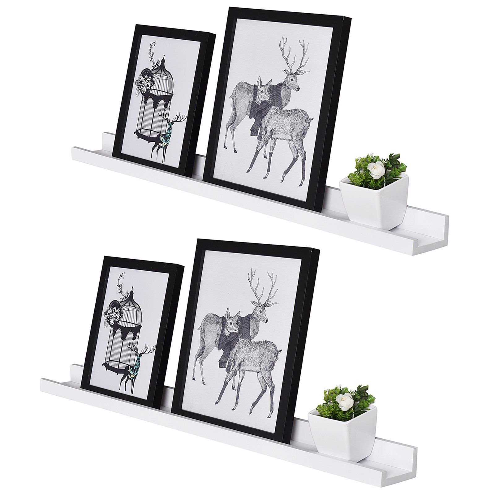 WELLAND Vista Floating Picture Ledge Display Wall Shelf, 48-inch, Set of 2, White