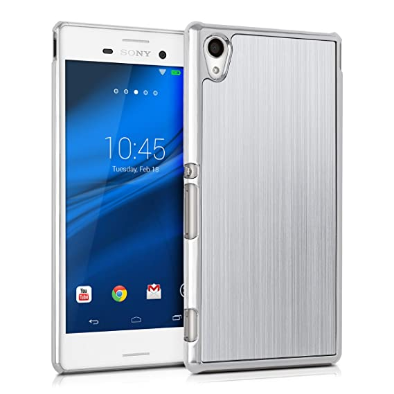 premium selection 58dcc a65bd kwmobile Case for Sony Xperia M4 Aqua - Brushed Aluminum Hard Case  Shockproof Protective Back Cover - Silver