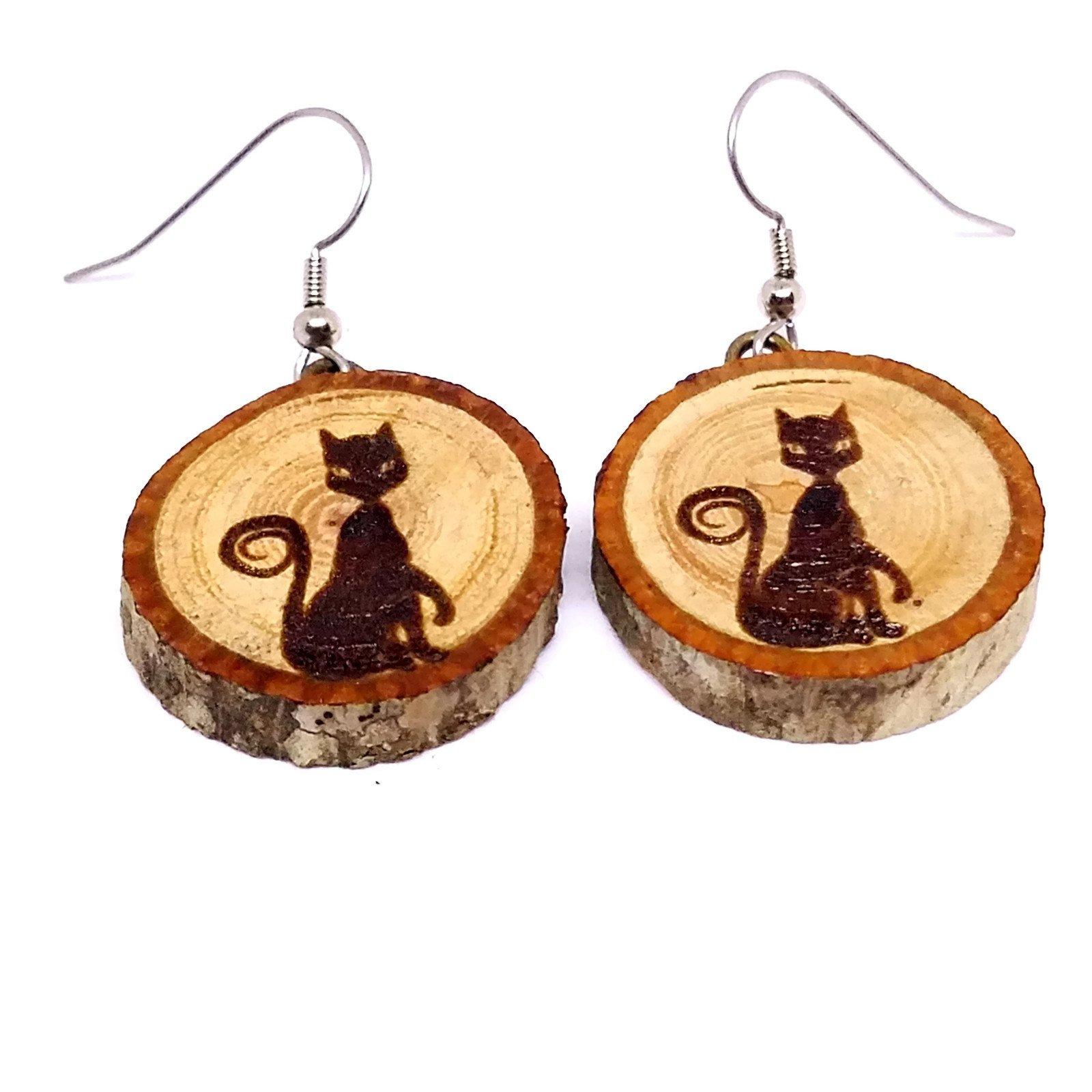 Cat lovers dangle wood earrings, laser burned earrings, cat siholette hearts