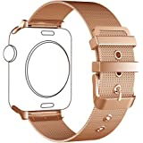 Apple Watch Band,LWCUS NEW Milanese Loop Stainless Steel iWatch Band with Classic Buckle for Apple Watch Series 2,Series 1,Sport,Edition,Smart Apple Watch Accessories(18K ROSEGOLD/38MM-Elegant Flimsy)